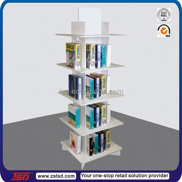 Tsd w754 custom floor standing mdf wooden book display stands book store furniture comic book - Comic book display shelves ...