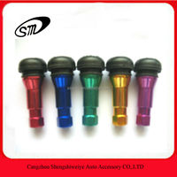 Aluminum sleeve snap-in tubeless tire valve stems
