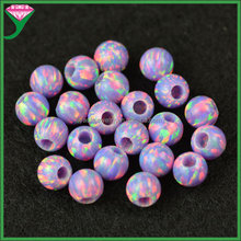 wholesale price OP38 purple half drilled 2mm big hole round ball 5mm synthetic fire opal stone