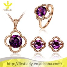 Solid 18k Rose Gold Natural 5.24ct Amethyst Diamond Fine Jewelry Set