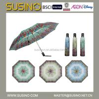 """22""""X8K Susino 3 Fold Auto Open & Close paper print Umbrella"""
