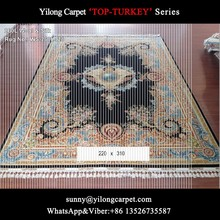 china factory 220x310cm black handmade rugs quality wool natural silk nain persian carpet