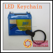 2015 hot sale Promotion gifts rubber pvc led keychain with metal split ring/Reflective Pvc Keychain With Light