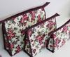 cosmetic cotton printiing and quitting bag purple roses set 3