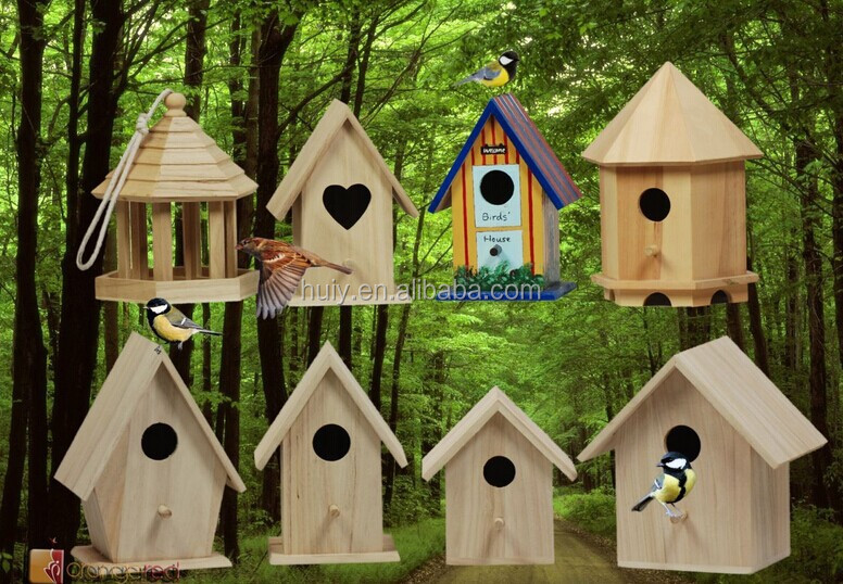 Solid Pine Wood Bird Houses Painted Color Wood Bird Cage