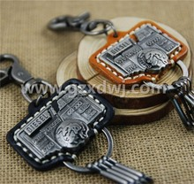 Metallic leather key chain style restoring ancient ways Leather key chain car keys pendant