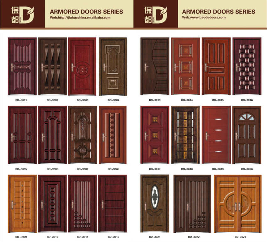 Flat design steel wood armored door entrance main door for Entrance door design for flats
