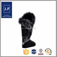 2015 factory direct fashion fox fur high heels snow boots women