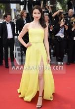 New arrival strapless long chiffon yellow split wholesale evening dress