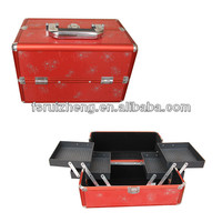Professional Red Aluminum Cosmetic Train Makeup Beauty Case Box