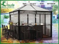 300*300CM outdoor wooden bar gazebo