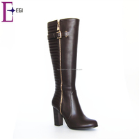 winter warm knee boot new products high heel pu leather woman boot