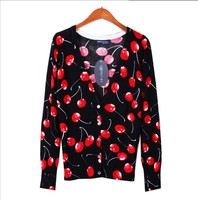 2014 Spring and Autumn new women's long-sleeved sweater jacket shirt printing black cherry