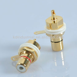 Gold Amplifier RCA Jack Female Chassis Connector