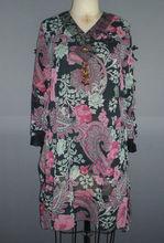 Beaded neck Long sleeve muslim lady casual chiffon blouse A08903#