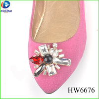 HW6676 New coming glass shoe buckles with great selling