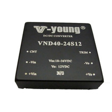 24V to 12V 40W dc dc converters,isolated type with remote control and trim function,2.0*2.0inches