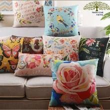 Digital Flower Linen Office Chair Back Support Cushion