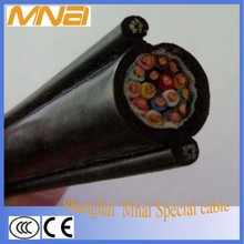 Low voltage flexible crane pendant control cable with steel supporting
