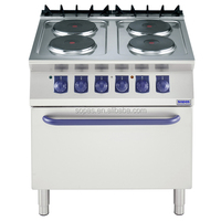 sopas Commercial Kitchen Equipment 700 series Industrial Electric Cooktop with Oven (4 round hot plate)