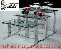 Stainless Steel Rectangular Dinning/Buffet/Banquet/Tea-Break/Bar/Wedding/Home Table with Tempering Glass Top