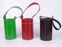Decorative single stitched faux leather wine carrier holder