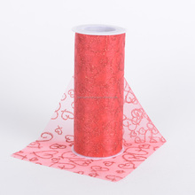 hot red color best popular valentine day's organza fabric
