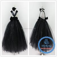 Hot baby full-length ball grown dress the girl black chiffon center pearl dresses
