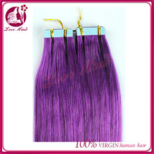 The biggest seller pure purple color hair materials for skin weft hair brazilian straight secret hair extension