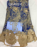 2015 High quality french oraganza lace /cord /Water Dissolving Lace french embroidery net lace fabric QX 4221-3