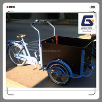 new design Holldand bakfiets electric front loading cargo tricycle motorcycle with cabin box