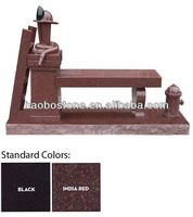 India Red Granite Cremation Cemetery Bench