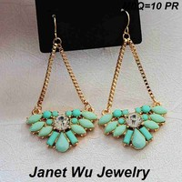 Chinese Cheapest Stock Free Samples Free Gift Women Earrings Gold Plating Fashion Jewelry Blue Rhinestone Drop Earrings