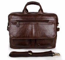 7085C Reddish Brown Genuine Cowhide Leather Men's Business Briefcase Laptop Bag