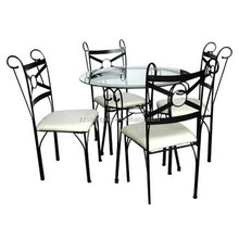 Round Glass Top Metal Dining Table Set