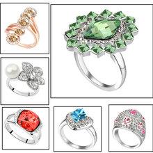 anillo de bodas de cristal de la moda