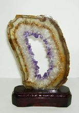 Amethyst slices with wood bases