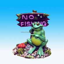 Funny polyresin frog with no fishing sign figurine, fish aquarium ornament