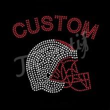 Custom Football Helmet For Football Jersey T-shirt Rhinestone Transfer