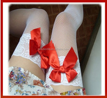 Women Sexy Stockings Elastic Socks Lace Top Hollow Fishnet Thigh High Stockings Beileisi Sexy Black Bow Stockings For Women