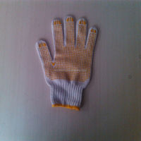 pvc diotted cotton glove/led work gloves