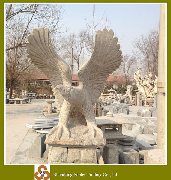 Garden decoration stone carving large eagle birds statues for Large garden stones for sale
