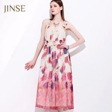 Fashion summer tunic mid chiffon multicoloured dress for beach party