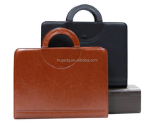 Factory customize business zip PU leather briefcase with handle