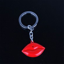 Lips Shaped Keychain Custom Promotional Alloy keychain Sexy Red Lips Keychain