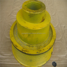 Yellow Excavator Part Of Cast Iron Round Pulley