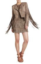 KDK257 winter lady jacket with fringe on sleeve and back