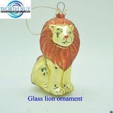 Shiny gold lion kingmurano glass animals decoration Christmas ornament wholesale