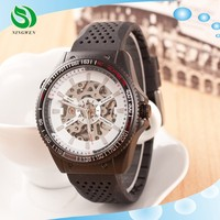 Luxury Fashion Leather Band Men Mechanical Self Wind Skeleton Watch For Men
