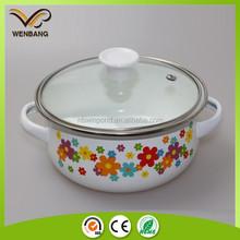 6pcs porcelain enamle cookware,white carbon steel enamel cookware set